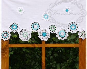 Shabby chic curtain with crochet colorful floral doilies, french cafe curtain, farmhouse country style curtain, valance - height 45cm/18in.