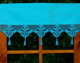 """Blue turquise cafe curtain with crochet lace and tassels, shabby chic curtain, france country curtain, valance -  -height 40cm/16"""""""