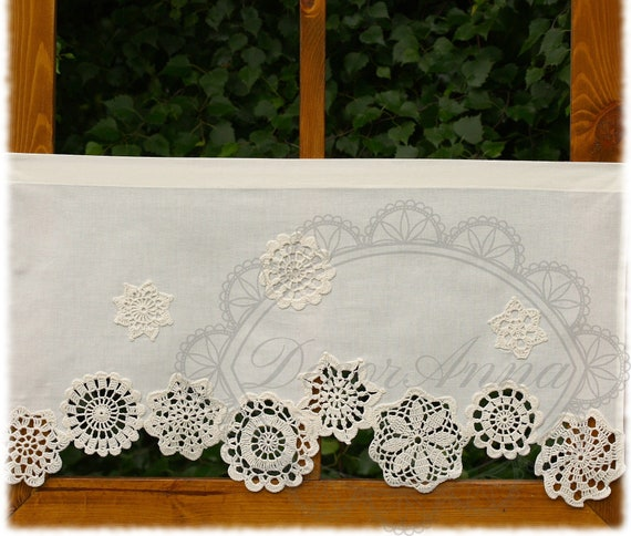 Uncinetto Shabby.Shabby Chic Curtain With Crochet Doilies French Cafe Curtain Etsy