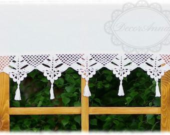 "Shabby chic curtain with crochet handmade lace, french cafe curtain, farmhouse country curtain, valance -height 16"""