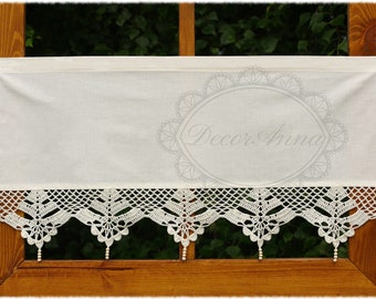 """Shabby chic valance with crochet lace, french cafe curtain, farmhouse country style curtain, rustical kitchen valance -height 18""""/45cm"""