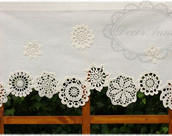 Shabby chic curtain with crochet floral doilies, french cafe curtain, farmhouse country curtain, lace valance - height 16 inches /40cm