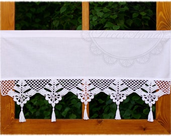 """Shabby chic curtain with crochet handmade lace, french cafe curtain, farmhouse country curtain, rustical kitchen valance -height 40cm/16"""""""