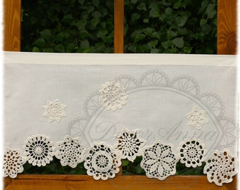 Shabby chic curtain with crochet doilies, french cafe curtain, farmhouse country curtain, lace curtain, rustical valance - height 45cm/18in.