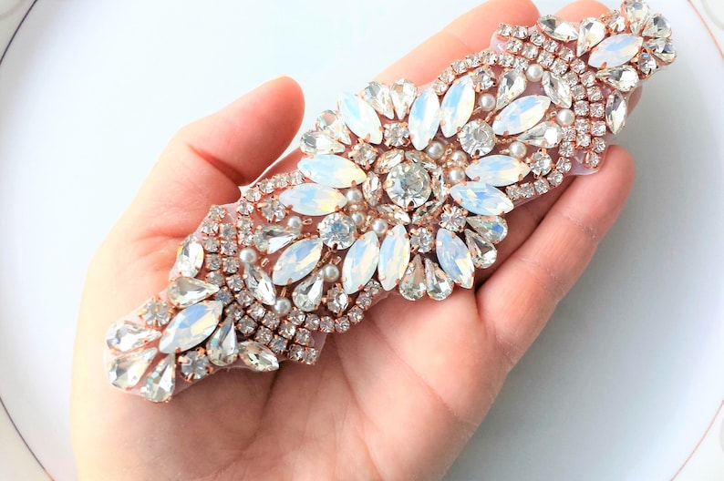 Rhinestone pearl applique rose gold opal diy wedding bridal etsy