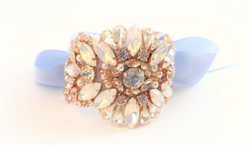 Wrist Corsage Blue Opal Rhinestone Rose Gold Prom Corsage Bracelet Wedding Corsage Bracelet Beaded Bridal Bracelet Bridesmaid Wrist Cuff