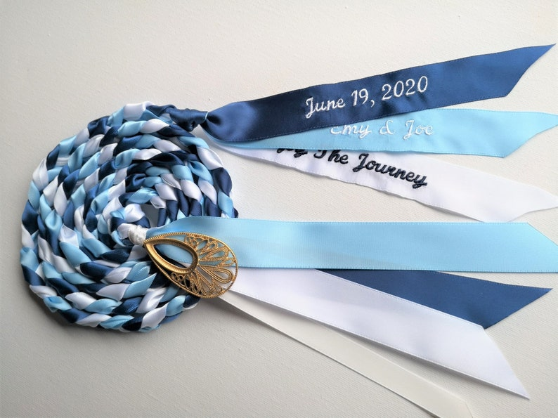 Handfasting Personalize Blue White Navy Wedding Bridal Gift Binding Unity Union Cord Embroider Ribbon Braid Date Name Couple Message U Pick