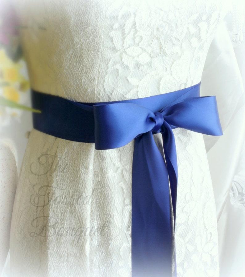 c92c093d69a1 Fascia Blu Royal nastro di raso cintura da sposa abito abito