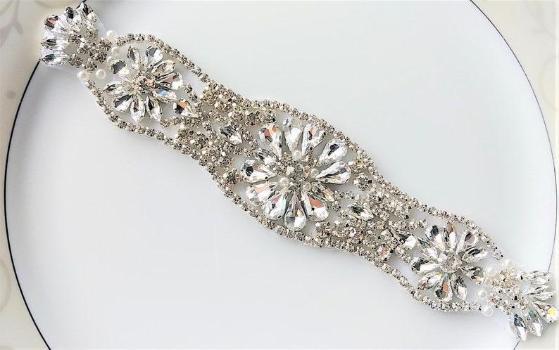 Rhinestone Applique Patch Silver Sew Glue Iron On Wedding Bridal Dress Gown  Sash Belt Applique DIY Prom Flower Girl ... c915dd6352bc