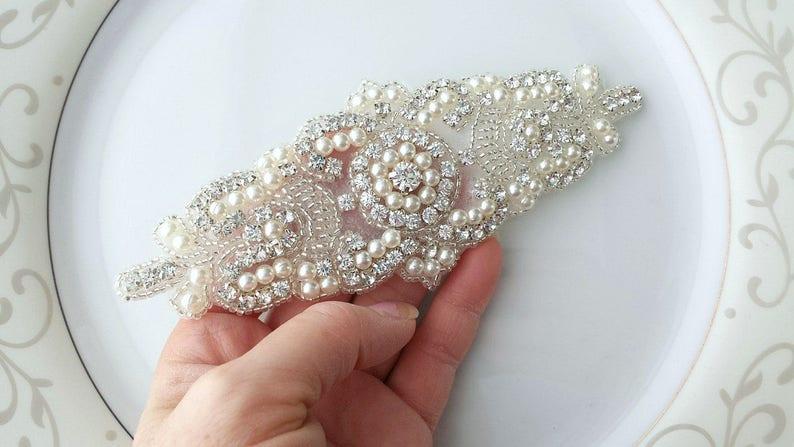 Bead Rhinestone Pearl Applique Ivory Silver Sew Glue Iron  477e11cf645b