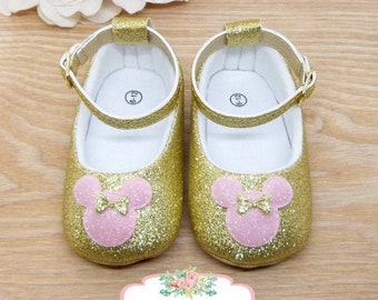Minnie Mouse Pink and Gold Shoes, Minnie Mouse Pink and Gold 1st Birthday Outfit, Pink and Gold Minnie Mouse Birthday, Minnie Mouse Shoes