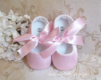 watch new specials new images of Pink Satin Baby Shoes Pink Flower Girl Shoes Pink Satin | Etsy
