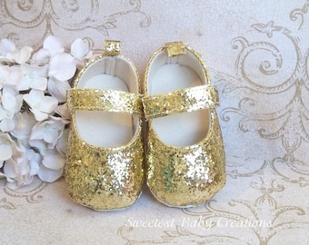 Gold Baby Shoes, Glitter Baby Shoes, Baby Girl Gold Shoes, Gold First Birthday Shoes, Gold Shoes for Baby Girl, Infant Gold Shoes