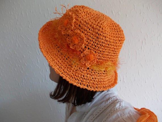 Orange Bast Hut Handarbeit Häkeln Bast Hut Frühling Garten Etsy