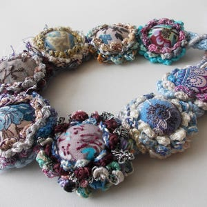 shabby chic necklace glass crystals necklace statement Marie Antoinette necklace Tattered fairytale old laces silk fabric necklace