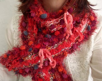 Simply red...rustic pom pom scarf, red neckwarmer, winter fashion accessories, hand knit textured cozy shawl, boho,perfect christmas gift.