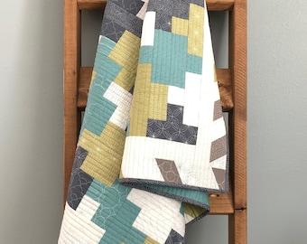 Zen Studio Quilt Pattern - Instant PDF Download, Modern Quilt Pattern, Jelly Roll Quilt, Stash Buster