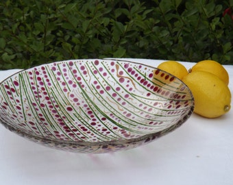 Fused glass bowl Cranberries