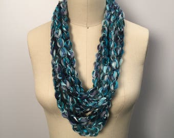 Turquoise/Blue Lucetted Scarf Necklace with Repurposed Leather Detail - Hand Knit w/ Lucet