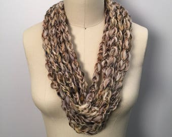 Woodland Lucetted Scarf Necklace with Repurposed Leather Detail - Hand Knit w/ Lucet