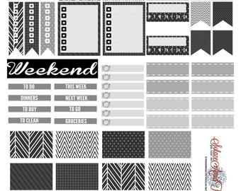 Black + White Weekly Kit : EC Vertical   Printable