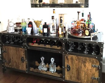 Incroyable Modern Industrial Wine Cabinet | Credenza Bar Storage | Liquor Cabinet |  Buffet | Sideboard