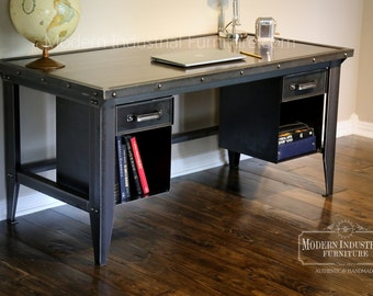 Machinist Tool Desk | Modern Industrial | Vintage Riveted Top With Bookcase  Drawers | Homework | Vintage Office | Retro | Mid Century