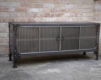 TV Stand Media Console Cabinet Vintage Industrial Modern | Entertainment Center | Audio | HiFi Retro