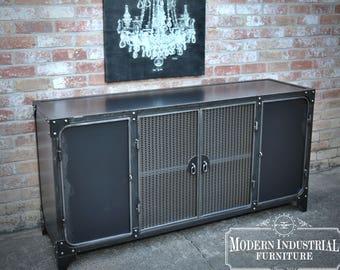 Bon Industrial Liquor Cabinet | Bar Sideboard | Steel Buffet Kitchen Storage |  Wine Credenza | Steel | Media Console