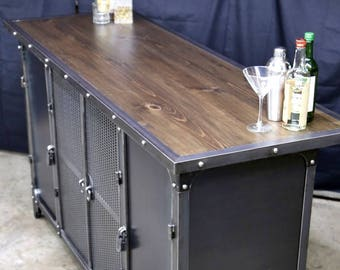 Home Bar Cabinet | Height Liquor Spirits Modern Industrial Riveted Kitchen  Island Furniture | Vintage | Man Cave | Steel U0026 Wood Warehouse