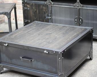 Industrial Coffee Table | Locker | File | Cabinet | Steel | Black Matte |  Flat | Riveted Wood