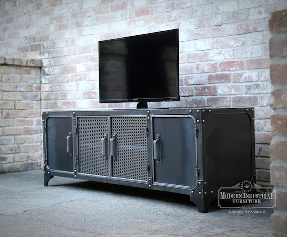 Media Console Industrial Modern All Steel Tv Stand Cabinet Etsy