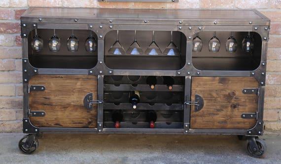 Credenza Da Cucina Traduzione : Modern industrial wine cabinet credenza bar storage etsy