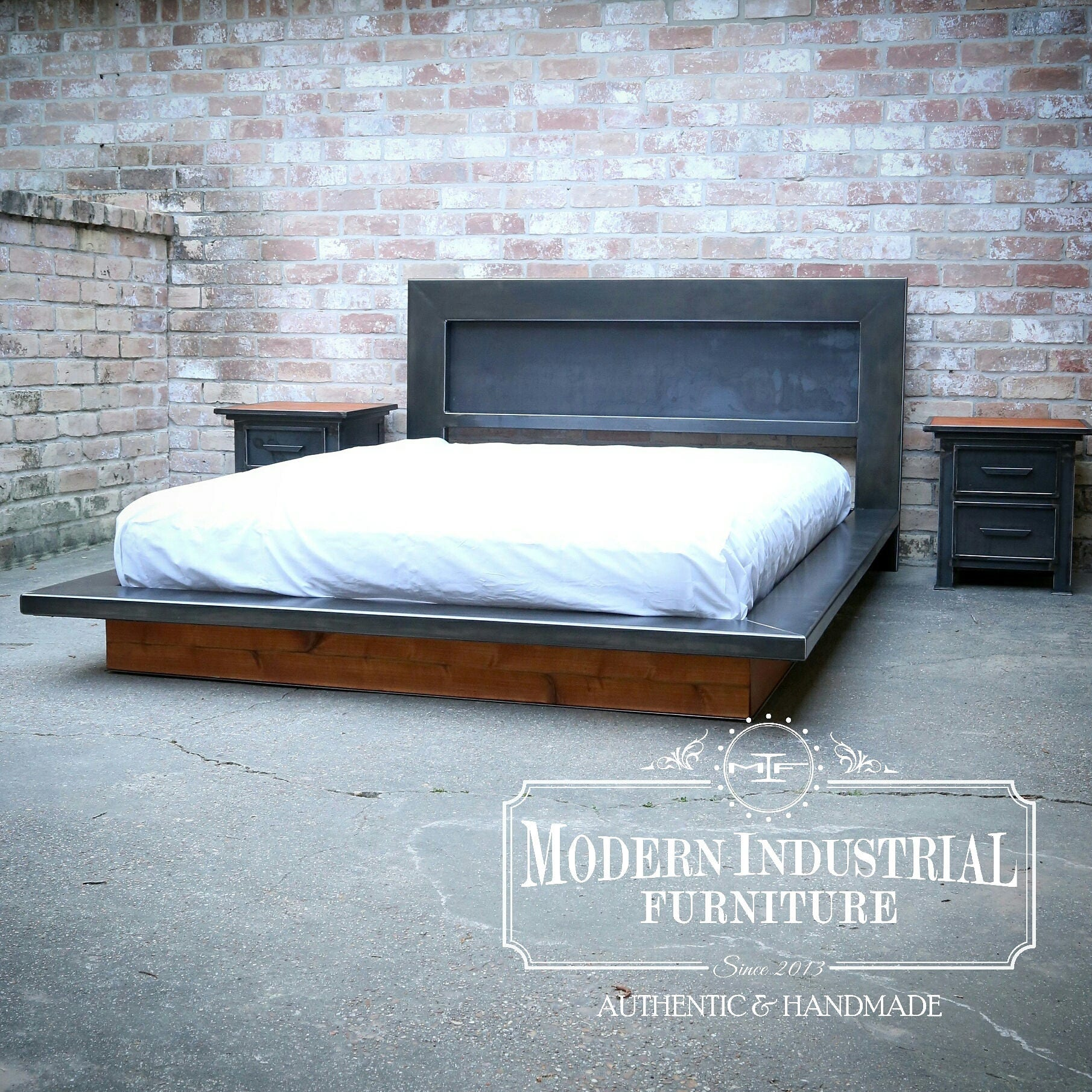 modern platform bed metal industrial headboard low profile. Black Bedroom Furniture Sets. Home Design Ideas