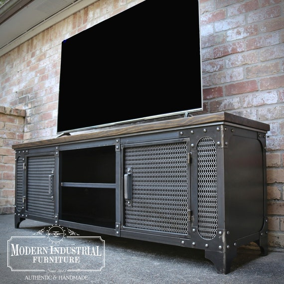 low priced 14970 e6141 Modern Industrial Media Console | ANVIL | Steel TV Stand Cabinet Vintage |  Entertainment Center | Audio | HiFi Retro