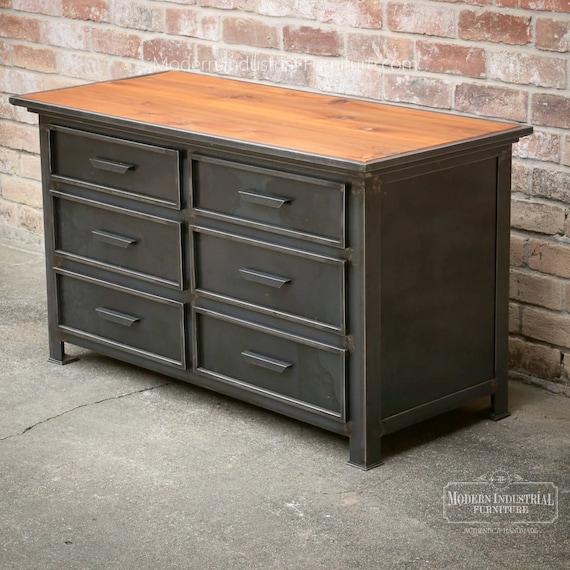 Modern Industrial Bedroom Dresser | Vintage Style Steel Metal Furniture |  Drawer Cabinet |