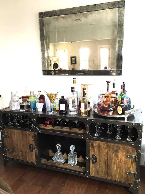 Modern Industrial Wine Cabinet Credenza Bar Storage Liquor