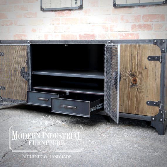 industrial media furniture metal cage 50 modern industrial media console vintage living room etsy