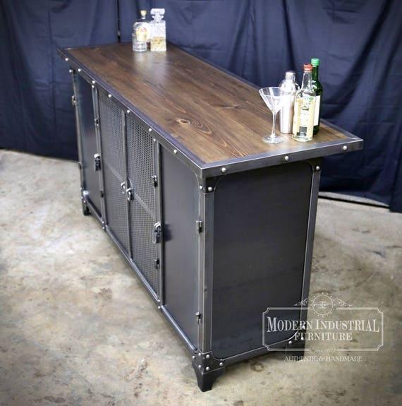 Home Bar Cabinet Height Liquor Spirits Modern Industrial