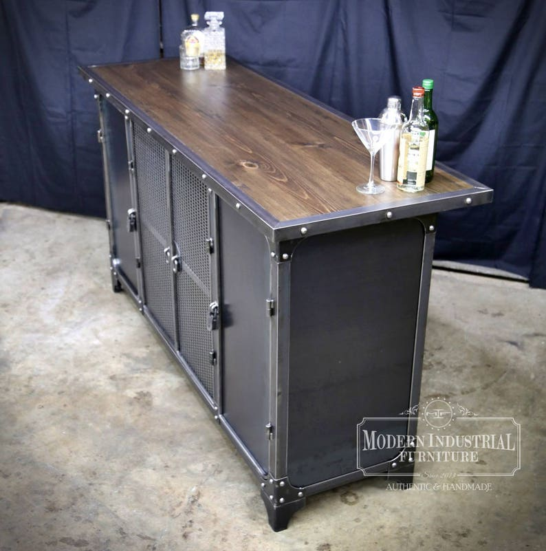 Home Bar Cabinet Height Liquor Spirits Modern Industrial Etsy