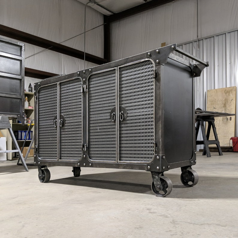56-in Metal Media Storage Cart  Steel Office Cabinet