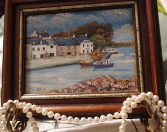 Vintage Coastal Miniature Painting on board in Frame