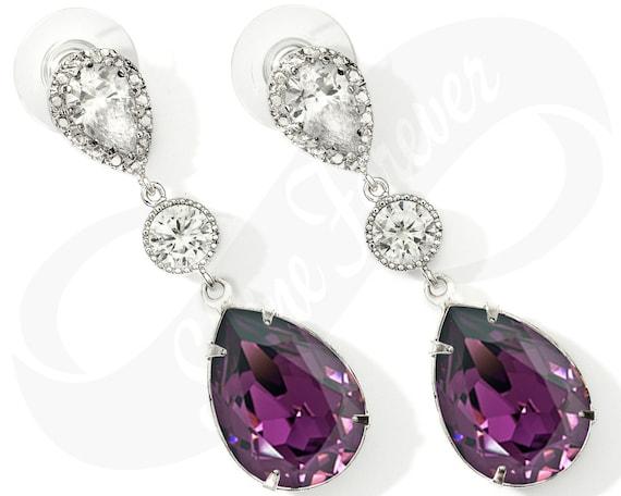 Bridesmaid Earrings Purple Earrings Amethyst Earrings Bridal Etsy