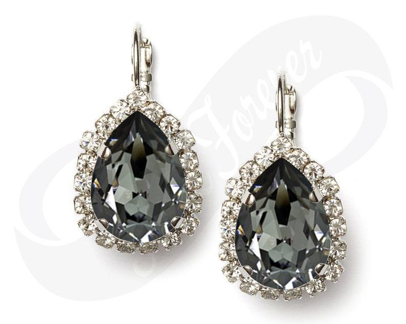 Bridesmaid Earrings Silver Night Earrings Gray Earrings Bridal Etsy