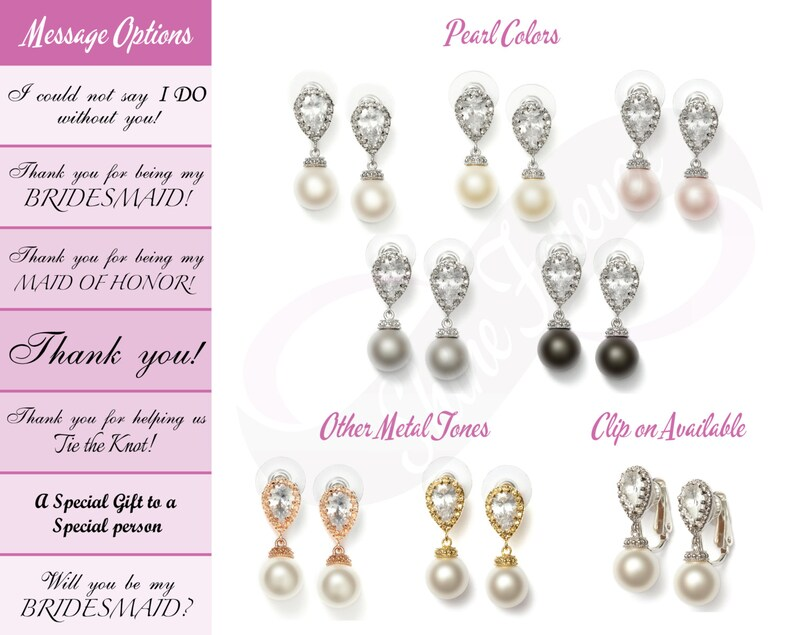 Set of 6 Pearl Jewelry Set Bridesmaid gift set of 6 Jewelry Set Bridal Pearl Bridesmaid Jewlery Set Bridal Jewelry Set Bridesmaid Jewlery