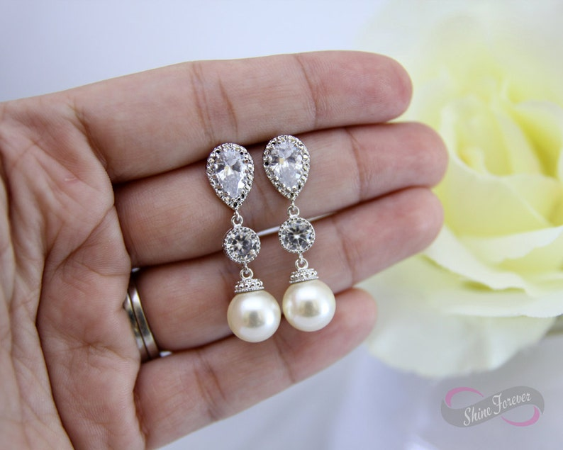 Bridesmaid Earings and Necklace Set Bridal Pearl Earrings Necklace Set Cream Pearl Earrings Necklace Set Bridal Jewelry Bridesmaid Gift