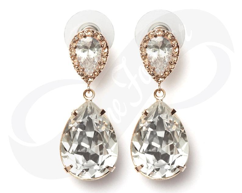 3441439ffc8cc8 Bridesmaid Rose Gold Earrings Bridesmaid Teardrop Earing   Etsy