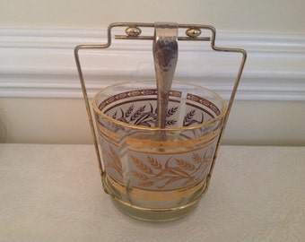 Brockway Wheat Design Gold Trim Ice Bucket With Caddy