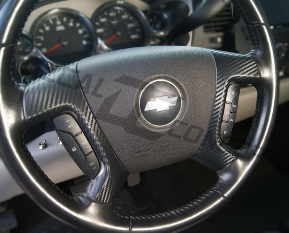 Gloss Black Steering Wheel Vinyl Bowtie For 2007-2013 Chevrolet Silverado Tahoe