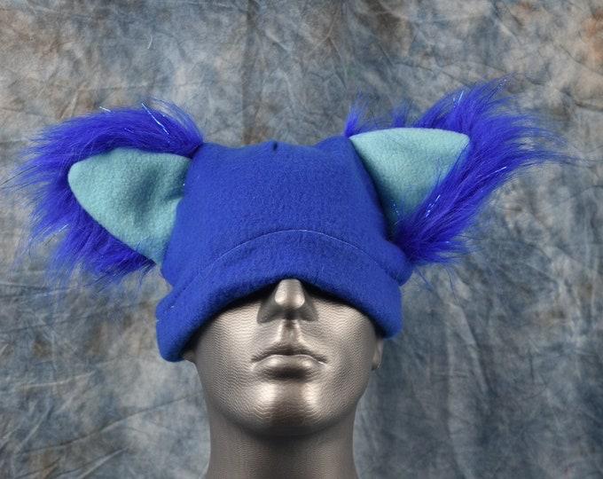 Royal Blue with Sparkle Blue Ears Wolf Ear Beanie Hat